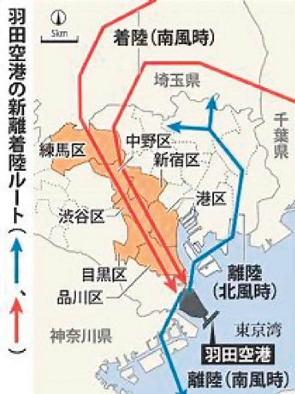 羽田空港の新離着陸ルート